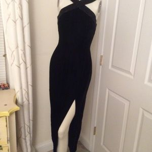 NWOT BLACK LONG GOWN WITH BEADED TOP, size SMALL